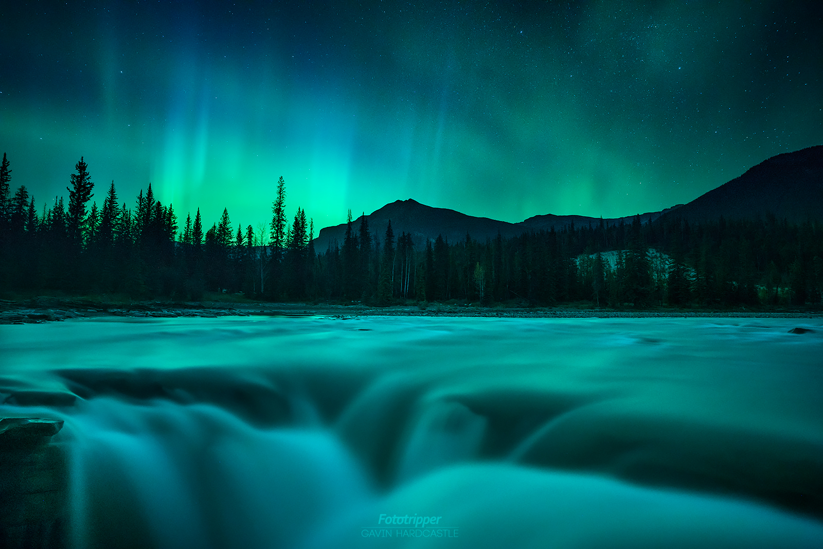 Jasper Photo Tours - Athabasca Falls Aurora