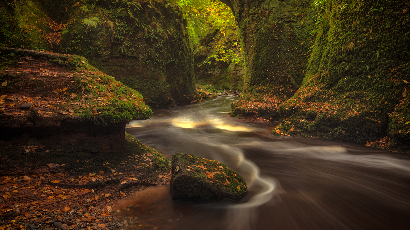 Exploring the depths of 'The Devil's Pulpit' in Finnich Glen on the Scotland Photography Workshop